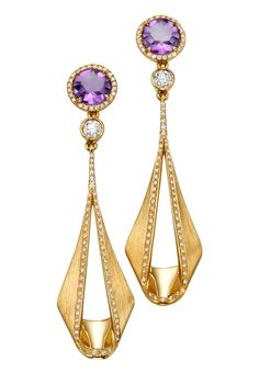 """A pair of long Earrings from the """"Pliage"""" Collection , 18K polished and matte yellow Gold, set with Diamonds and Amethyst . Price: $ 5,030 USD - Padani Jewelry -"""