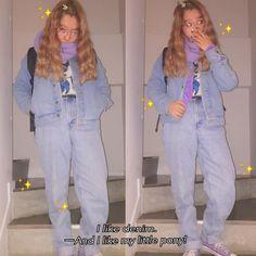 """オクヒラテツコ(ぺこ) on Instagram: """"ニット着てパーカー着てGジャン着たらGジャンでも全然あったかい✌️ そこにマフラーしたら完璧! しかもデニムパンツやから足もあったかいしあわせ〜 #denim #mylittlepony #PECOCLUB"""""""