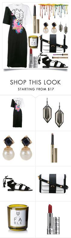 """Multi-print T-shirt Dress"" by camry-brynn ❤ liked on Polyvore featuring STELLA McCARTNEY, Kendra Scott, Loren Stewart, Trish McEvoy, Stuart Weitzman, Marni, Ellis Brooklyn, Clinique and Christian Dior"