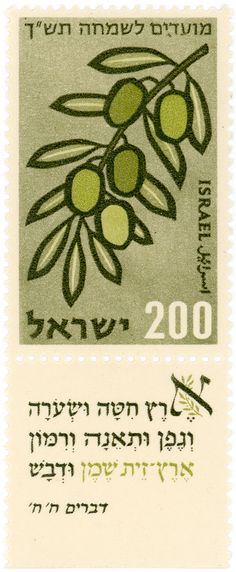 https://flic.kr/p/e5bCMT | Israel postage stamp: olives | catalog #198, c. 1959 part of the Festivals 5720 (1959) series. Inscription on missing tab: ''A land of wheat, and barley, and vines, and fig trees, and pomegranates, a land of oil olive , and honey'' Deuteronomy VIII, 8 Designed by Zvi Narkiss