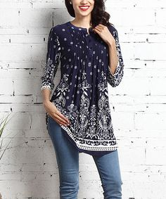 Look at this Navy Suzani Notch Neck Pin Tuck Tunic on #zulily today!
