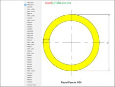 Steel Sections: USA: AISC Round Pipe CAD Format: AutoCAD 2013  Block Type: 2D Dynamic (1x37 Lookup Tables)  Units: Inches  Description:  A dynamic block made using the AISC Tables.  The block is parametric and uses lookup tables to produce 37 different blocks. The block can be edited to user dimensions with the standard AutoCAD Properties editor Steel Properties, Cad Blocks, Autocad, Editor, 2d, Tables, The Unit, Type, Mesas
