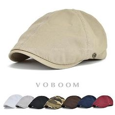 8cb777a5d93 Solid Cotton Gatsby Cap Mens Ivy Hat Golf Driving Summer Sun Flat Cabbie  Newsboy