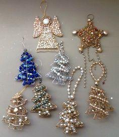 Christmas ornaments with grandma's vintage jewels