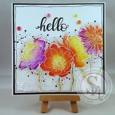 Designed by Fiona Spectgrum Noir Aqua Markers used: peach, fawn, yelow, red violet, scarlet, sunflower, crimson,sunset, orchid, lime, moss and slate....and clear glitter pen. Tim holtz stamps - Flower Garden #spectrumnoir #timholtz #handmade #floral #colouring