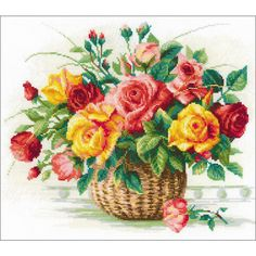 """Basket with Roses Counted Cross Stitch Kit - 13.75"""" x 11.75"""" 14 count"""