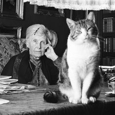 Dutch writer Ina Boudier Bakker with her cat. Photo by Paul Huf, 1963
