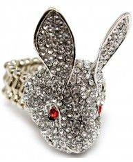 Rhodium plated Rabbit Ring encrusted with clear crystals.  Strectches to any size. Lead and nickel compliant.  Height : 1 1/2 inch tall
