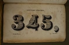 This is a page from the 1828 Bruce foundry specimen book. George Bruces foundry designed some wonderful type. Sadly Bruce specimens were typically printed on terrible paper and they are all in a very sorry state. This copy is in the collection of Butler Library at Columbia University.