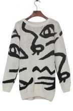 Apricot Round Neck Abstract Face Pattern Pullover Sweater $28.71
