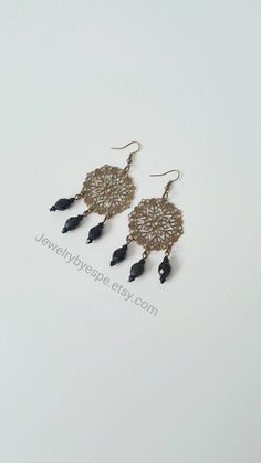 Hey, I found this really awesome Etsy listing at https://www.etsy.com/listing/483835822/black-earrings-dangle-earring-vintage