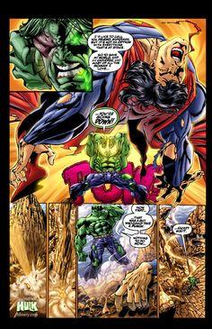 Hulk vs Superman by the great Claudio Castellini! Hulk Vs Superman, Hulk Marvel, Marvel Dc Comics, Spiderman, Avengers, Batman, Comic Books Art, Comic Art, World War Hulk