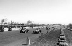 Luigi Fagioli (Alfa Romeo 158, number 3) and Juan Manuel Fangio (Alfa Romeo 158, number 1) lead at the start of the Formula 1 era. 1950 British Grand Prix.
