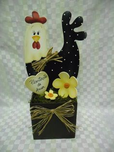 vaso cachepo galinha | Artesanatos Ingrid Carvalho | 21092E - Elo7