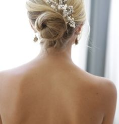 Erin Cole | Couture Bridal | Hairpins | bridal hairstyles, hair up, bun, hairstyle, blonde, hair decorations, hair accessories, earrings, hairstyle ideas, hair up inspiration, must have look
