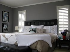 The Best Grey Paint Colors Ok. Black furniture, white bedding, dark grey walls with a light grey ceiling, white crown molding, white shutters. THAT is my perfect bedroom. Grey Bedroom Colors, Grey Bedroom Design, Gray Bedroom Walls, Grey Room, Modern Bedroom, Master Bedroom, Grey Bedrooms, Bedroom Designs, Bedroom Curtains