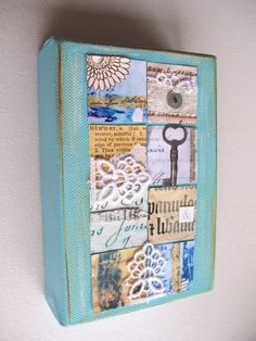 Original art mixed media collage canvas Patchwork of by artangel, £23.00