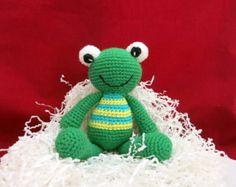 Amigurumi frog toy, Handmade crochet toy, Crochet frog, Stuffed Animal Frog, Crochet Stuffed Toy, Crochet Green Frog, Toy Frog FREE SHIPPING