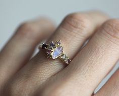 Listing is for gorgeous moonstone cluster ring. Available in 14k rose/yellow/white gold  Item info: rainbow moonstone 8x 4mm - 9x 5mm amethysts, violet sapphire, pink sapphires champagne diamond 3.3 - 3.5mm small champagne diamond 2mm  Ring will be shipped with DHL express shipping. ★ ★ ★ ★ ★ ★ ★ ★ ★ Enter my shop here: Click here to visit Capucinne shop: http://www.etsy.com/shop/capucinne  Thanks for visiting our shop! Capucinne♥ ★ ★ ★ ★ ★ ★ ★ ★ ★  Please read p...