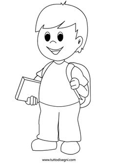 bambino-zaino-scuola Animal Coloring Pages, Colouring Pages, Coloring Books, School Library Displays, Classroom Displays, Pencil Art Drawings, Cartoon Drawings, Preschool Pictures, School Clipart