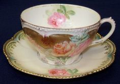 RS Prussia Floral Gold Beaded Accent Porcelain Cup & Saucer