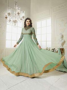Actress Prachi Desai Green Bollywood Wedding Anarkali Suit - Orange Fab Ethnic suit