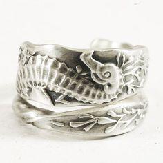 Seahorse Sterling Silver Spoon Ring in Oceanic Sea by Spoonier