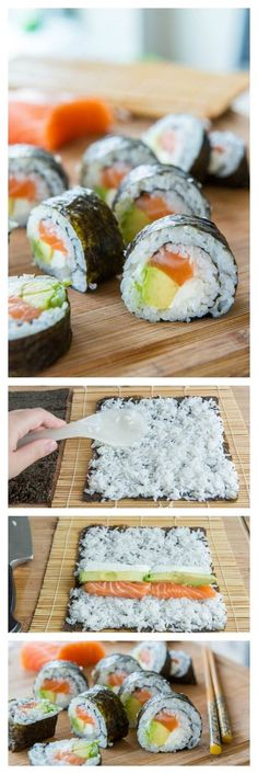 How to Make Homemade Sushi. Haven't made this for a long time. Not as hard as it looks but still takes time. I'd skip the cream cheese for more traditional cucumber and add some flying fish roe. Love those crunchy little balls!