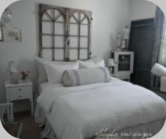 Love the window headboard... but I would add twine and pictures