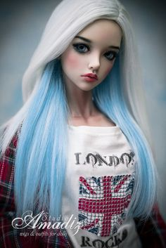 READY Blue Moon natural alpaca wig for bjd SD MSD por AmadizStudio