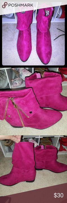 Purple faux suede booties Never worn.  They unsnap to be mid calf or fold over to be ankle boots. Forever 21 for exposure.  Brand says dbdk inside shoe Forever 21 Shoes Ankle Boots & Booties