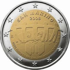 Sammarinese commemorative 2 euro coins 2008 - European Year of Intercultural Dialogue  Commemorative 2 euro coins from San Marino