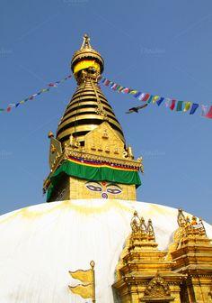 Stupa temple in Kathmandu, Nepal by Nuchylee Photo on Creative Market