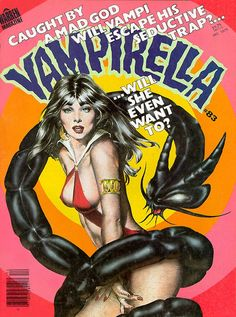 Vampirella, Issue 83 cover: using a Gonzales Vampi (he's great) I created the airbrush serpent (thanks to H.R. Giger technique-wise) Love the 70's typography and colouring.