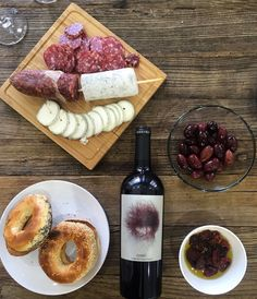 French Goat Cheese, Parma Salami, Montreal Bagels, Melia Freshline Kalamata Olives, Santorini Dried Tomato & Goru Spain Wine from Kolonaki Group.