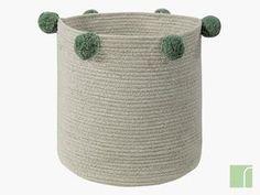 Green / Natural Pom Pom Storage Basket