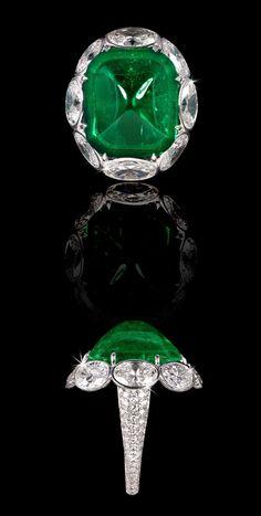 David Morris Emerald-Ring-With-White-Oval-Diamond-Surround