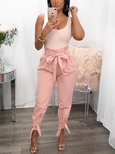 Shop Stylish Solid Frill Waist Belted Tied Ankle Casual Pants right now, get great deals at Chiquebabe Classy Outfits, Sexy Outfits, Stylish Outfits, Work Outfits, Stylish Clothes, Work Clothes, Clothes Sale, Casual Clothes, Cute Fashion