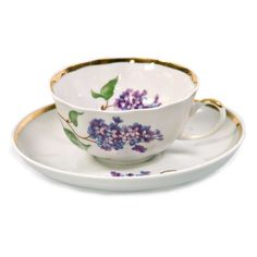 "Dulyovo Porcelain - Beautiful Teacup and Saucer from the ""Lilac"" Tea Set"