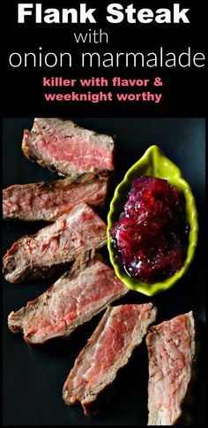 This tender pan seared flank Steak topped with tangy caramelized red onion marmalade makes treat for an easy and healthy weeknight meal. via @lannisam