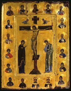 Orthodox icon from Mount Sinai Byzantine Icons, Byzantine Art, Religious Icons, Religious Art, Crucifixion Of Jesus, Art Icon, Orthodox Icons, Sacred Art, Christian Art
