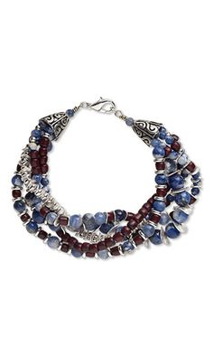 Sodalite gemstone beads and wooden beads combine with silver-toned beads in this unisex bracelet design.  Jewelry Design - Multi-Strand Bracelet with Sodalite Gemstone Beads, Wood Beads and Silver-Plated Copper and Brass Beads - Fire Mountain Gems and Beads