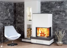 Spartherm Varia Source by mariamichaltsi Home Fireplace, Fireplace Design, Fireplace Ideas, Style At Home, Inside A House, Home Fashion, Home Living Room, Interior Design Living Room, Sweet Home