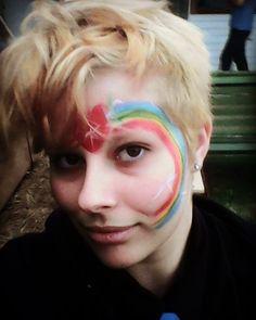 gaaaaay #selfie #rainbow #facepaint #heart #blond #warrnambool #blonde #fancy #gay by biopsyboopsy