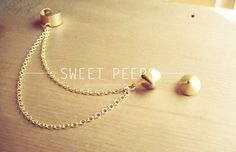 Gold Stud Ear Cuff with Bonus Gold Studs by sweetpeepshere on Etsy, $12.00