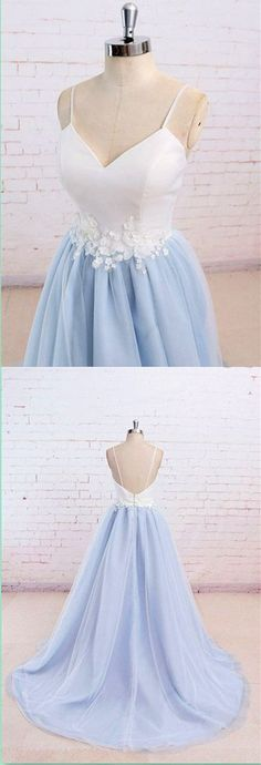Blue Spaghetti Straps Sweet 16 Party Prom Dress,Long Prom Dresses,Prom Dresses,Evening Dress, Prom Gowns, Formal Women Dress,MB 71