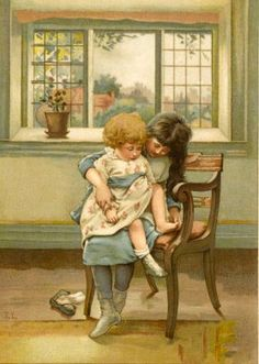 An Elder Sister Tells Her Younger Sister the Well-Known Story of the Little Piggy Giclee Print by Lizzie Lawson Vintage Pictures, Pretty Pictures, Vintage Images, Fairy Pictures, Portraits, Antique Prints, Vintage Children, Vintage Postcards, Art History