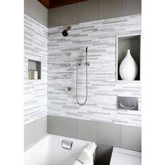 Grey bathroom- love the walls