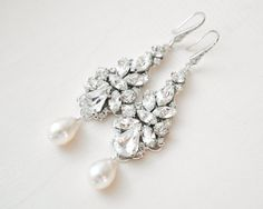 Statement Bridal Earrings Large Art Deco by SarahWalshBridal