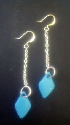 Modern Turquoise Geometric Diamonds on Chain Earrings by Jewellori, $10.00